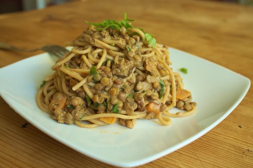 Spaghetti mit Linsen
