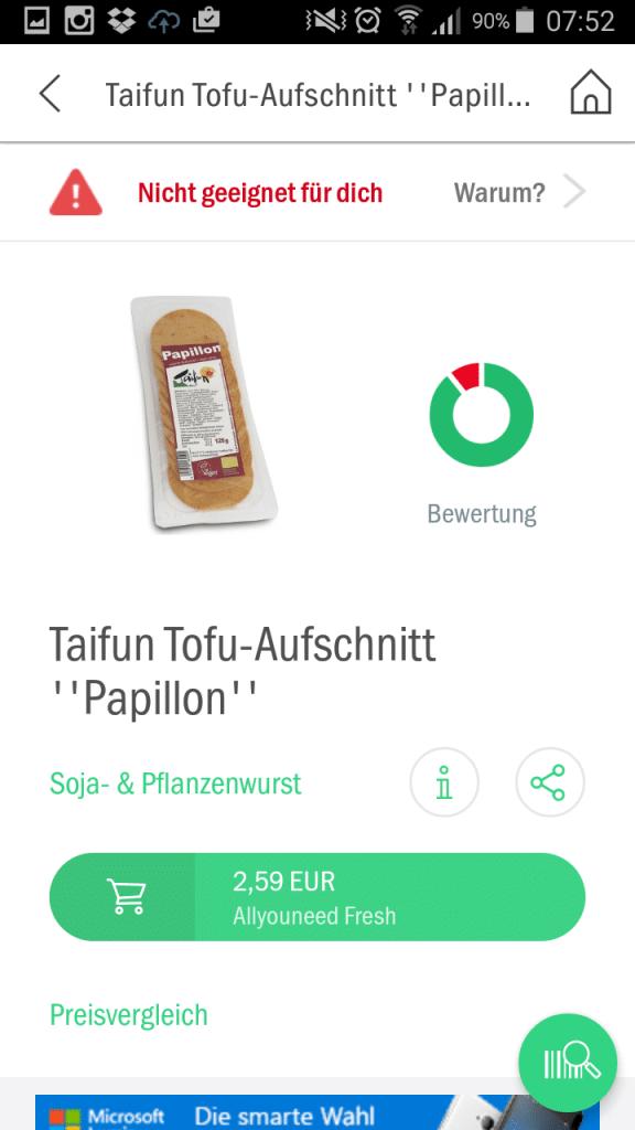 codecheck app vegan einkaufen