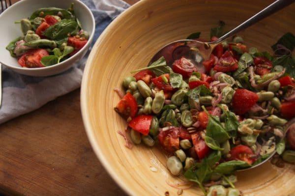 dicke bohnen salat vegan und glutenfrei