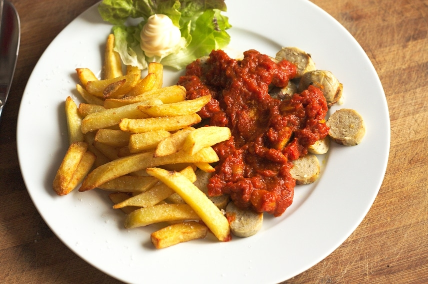 currywurst pommes vegan