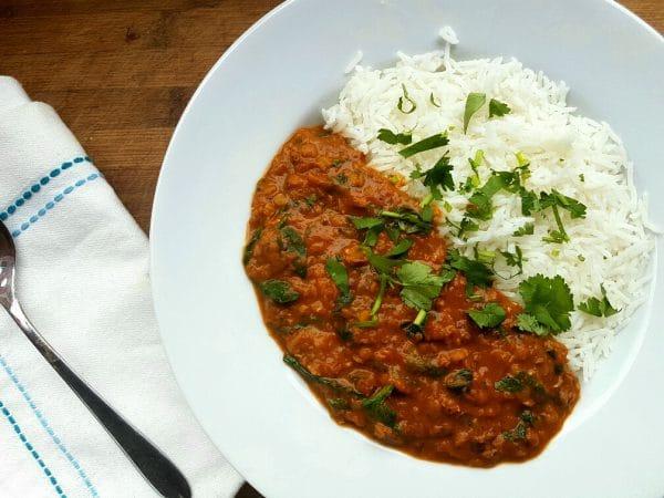 Spinat mit Linsen Curry