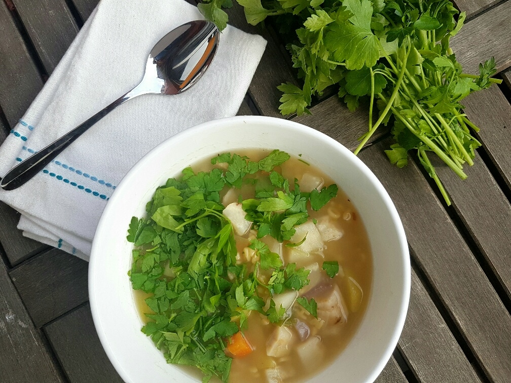 Buchstabensuppe mit Gemüse vegan und glutenfrei