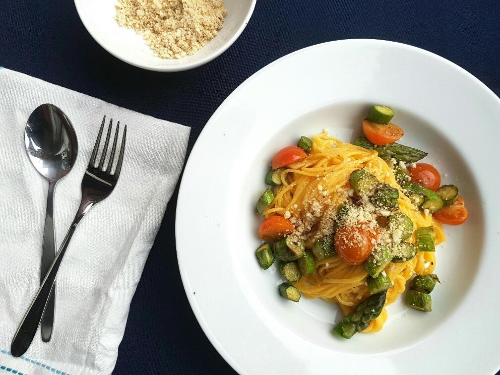 pasta mit grünem spargel vegan