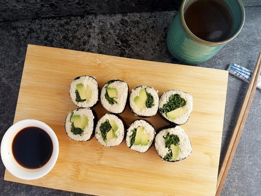blumenkohl sushi rohkost vegan glutenfrei