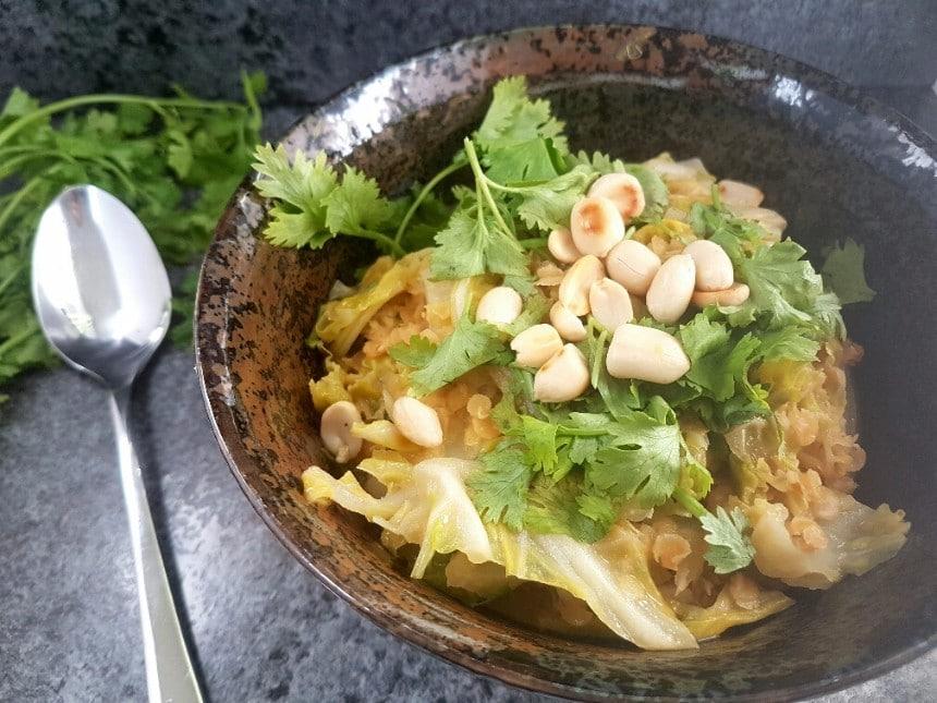 curry mit maiwirsing und roten Linsen