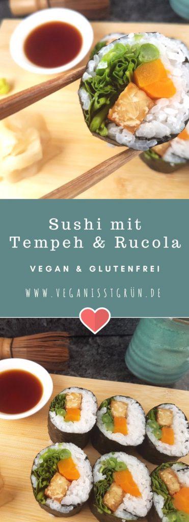 Futo Maki Sushi mit Tempeh und Rucola vegan und glutenfrei