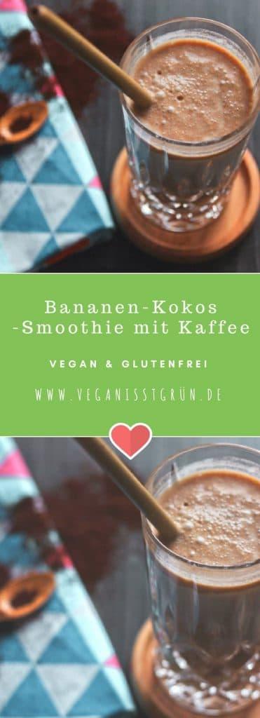 Bananen-Kokos -Smoothie mit Kaffee vegan und glutenfrei
