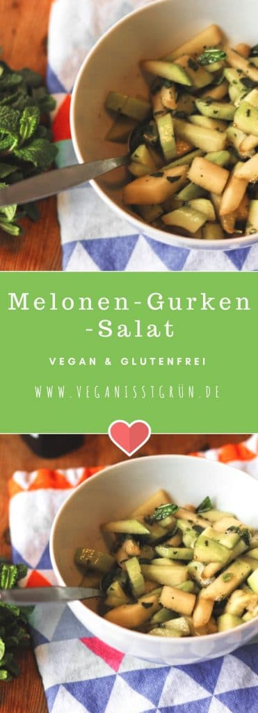 Melonen-Gurken-Salat mit Minze vegan und glutenfrei-min