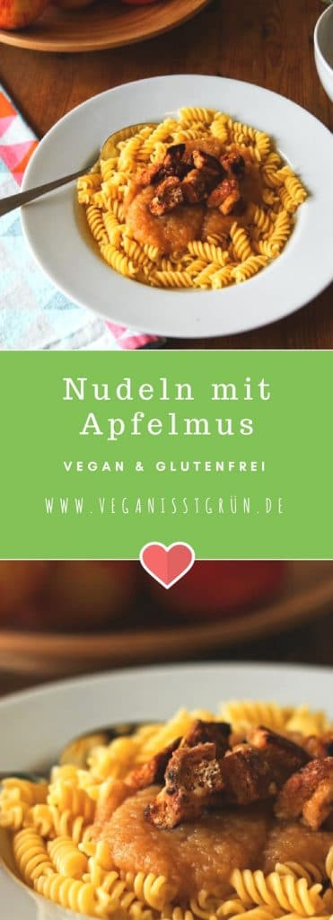 Nudeln mit Apfelmus vegan und glutenfrei-min