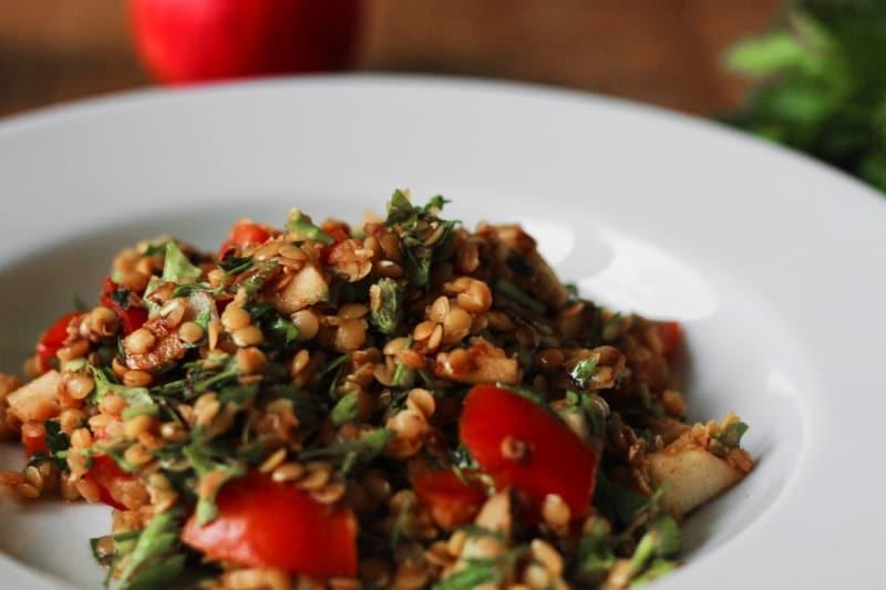 leckerer rote-linsen-salat vegan