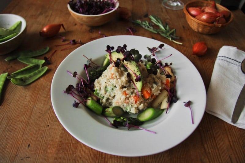 Quinoa Risotto mit Spargel vegan