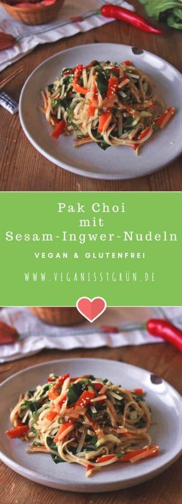 Pak Choi mit Sesam-Ingwer-Nudeln vegan & glutenfrei-min