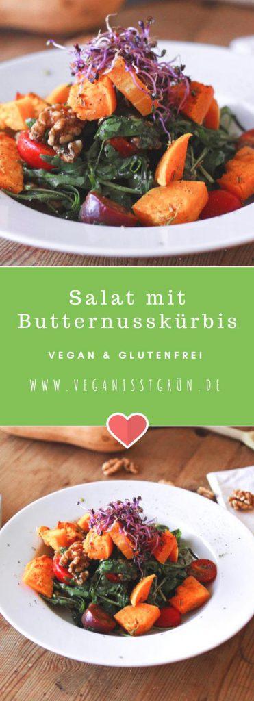 Pinterest Salat mit Butternusskürbis vegan & glutenftrei